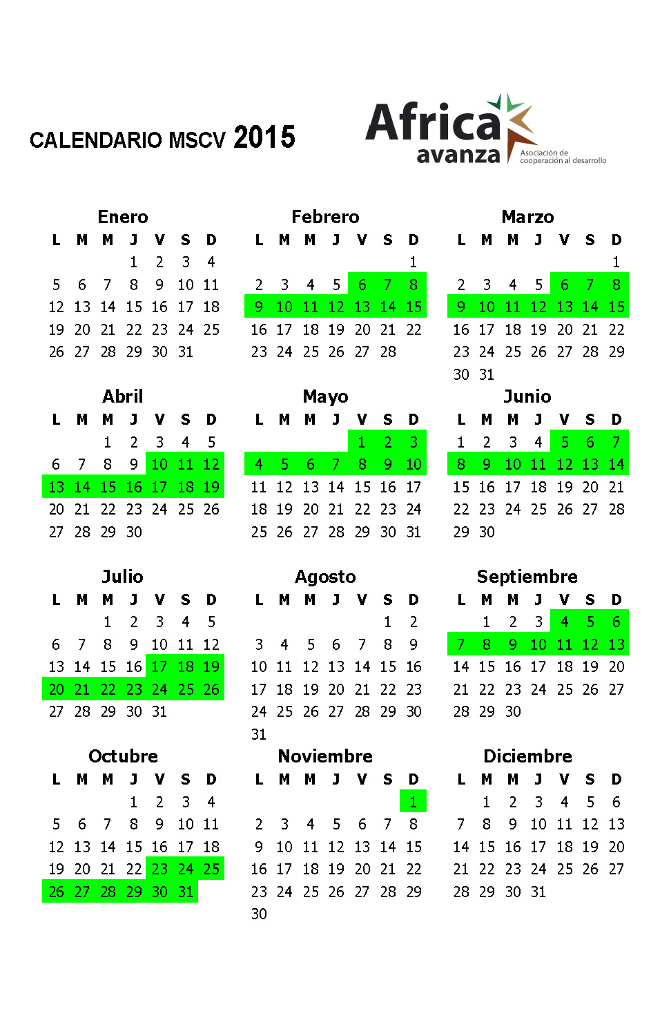 Calendario MSCV 2015